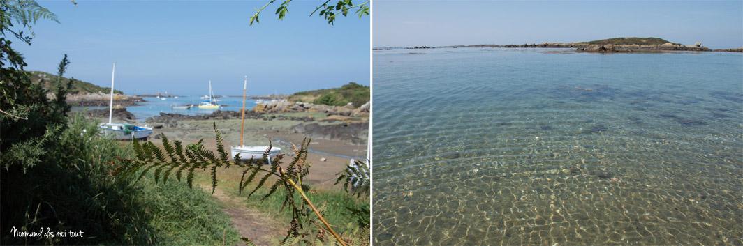 Une des anses de l'île et l'eau transparente des plages