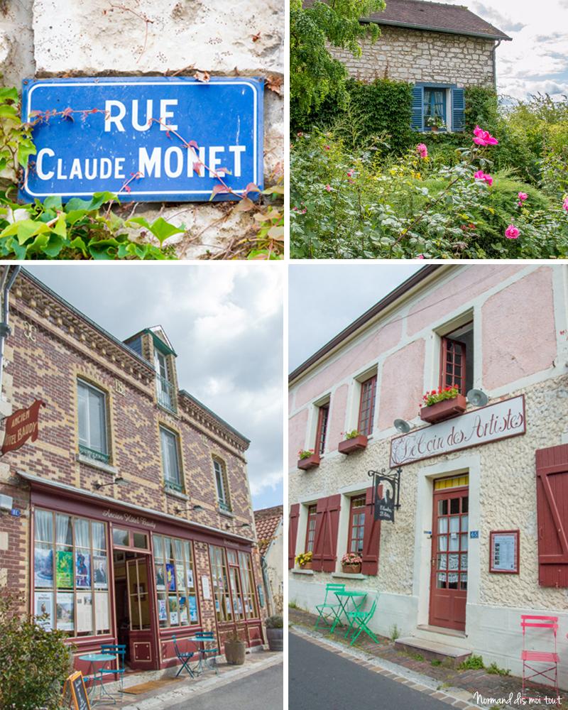 """Le village de Giverny : Ancien Hôtel Baudy, """"Le coin des artistes"""", et les maisons de pierre"""