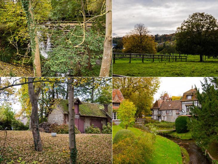 campagne à Houlgate : cascade, champ, sur le chemin de randonnée, villa dans un écrin de verdure