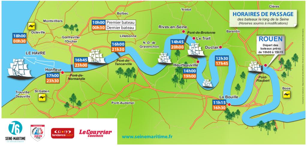 Armada de Rouen : Carte des horaires de passage des bateaux