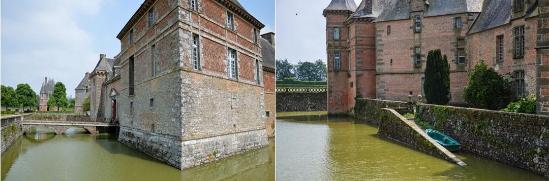 Château de Carrouges entouré d'eau