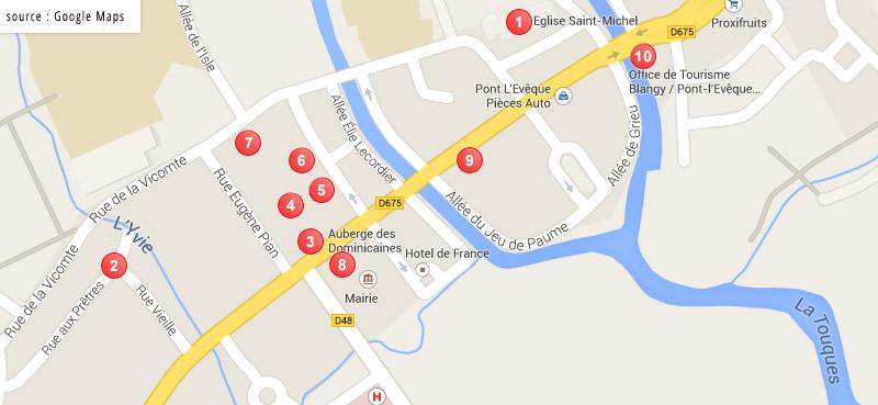 plan du circuit pédestre de Pont-L'Evêque