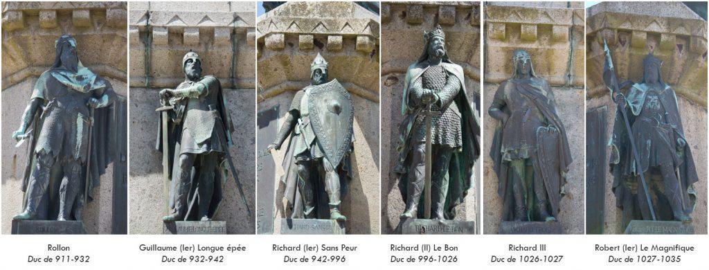 Les Ducs de Normandie (visibles tout autour de la statue de Guillaume)